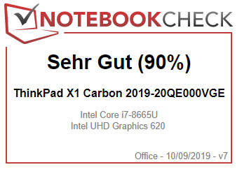 20QD003MGE - Test & Bewertung Notebookcheck X1 Carbon 2019 Modell Testnote Sehr Gut (90%)