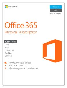 Micrososft Office 365 Personal, 1 User, 1 Benutzer, Deutsch, German