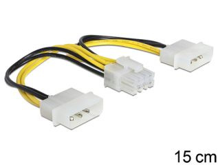 DeLOCK 2 x 4 Pin Molex > 8 Pin EPS 15cm