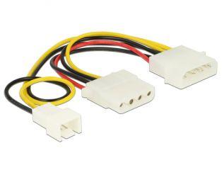 DeLOCK Stromkabel 4 Pin > 4 Pin + 3 Pin (Lüfter) 14cm