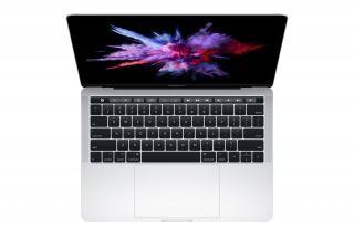 Apple_MacBook-Pro-13_mit-Touchbar_Silver mit 2 Thunderbolt 3 Anschlüssen