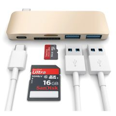 Satechi Type-C USB Passthrough Hub Gold, Anschluesse