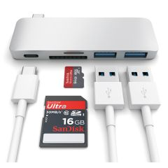 Satechi Type-C USB Passthrough Hub Silber, Anschluesse ST-TCUPS